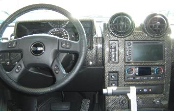 black and silver carbon fiber hummer dash and steering wheel