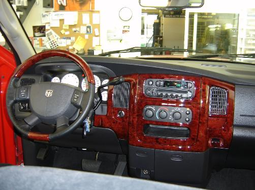 DODGE RAM WOOD DASH AND STEERING WHEEL